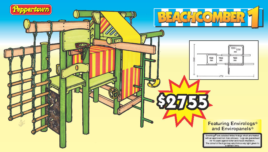 THE BEACHCOMBER 1 features 5 adjustrable decks, a lookout, camo climbing wall, a basket ball board, tunnel, Swing