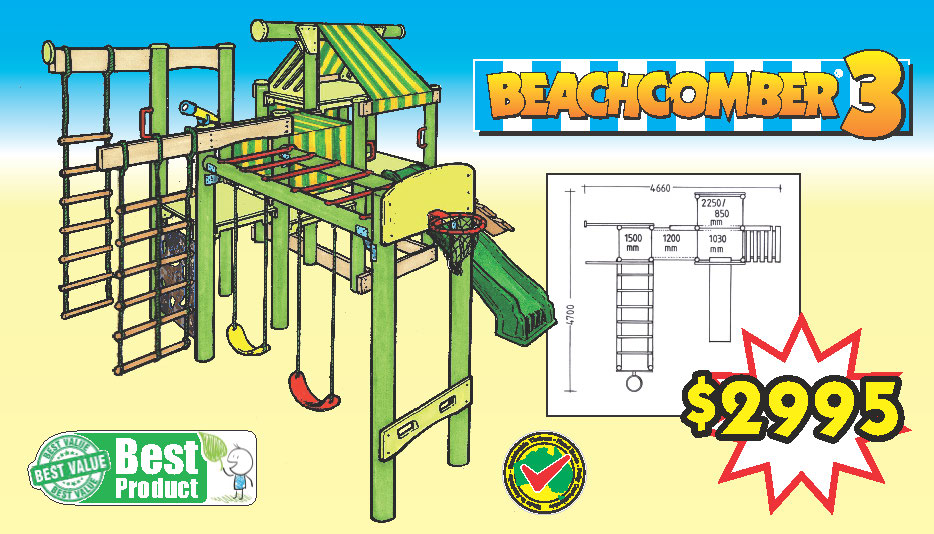 The Beachcomber 3 has over 23 challenging features that include - (1) Alternate rung climber - (2) Interchangeable belt swings - (3) Special butterfly clamps - (4) Ships ladder - (5) Camo climbing wall - (6) scramble net climber with dowels (remember to oil the dowels) - (7) a monkey bar - (8) basketball ring with backboard - (9) telescope - (10) multiple plastic grab handles - (11) a sandpit - (12) tunnel with colourful canopy - (13) an attic - (14) a turbo slide (the best in the world with a 5 year guarantee), and more