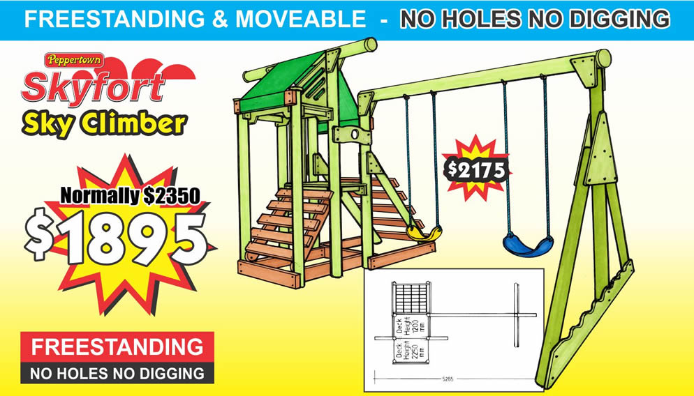 SKYFORT SKY CLIMBER, is Freestanding and moveable, requireing NO Holes and NO Digging.