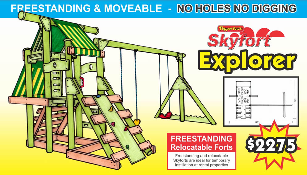 Freestanding and relocatable SKYFORT EXPLORER is a more adventurous freestanding skyfort